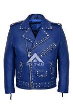 Stud Brando para Hombre Diseñador Azul Real Rojo Cuero Moto Chaqueta de motorista