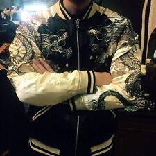 Mens Sukajan Souvenir Jacket Japanese Pattern Embroidered Dragon Phoenix Coats