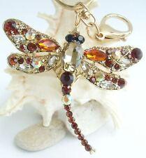 Elegant Insect Dragonfly Keychain Pendant Rhinestone Crystal K05684