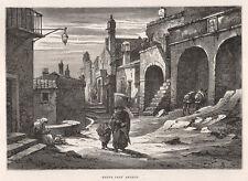 1877 Monte S.Angelo (Foggia) Puglia xilografia
