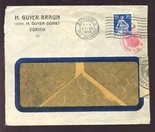 SWISS 1915 COVER...ZURICH RAIL TELEGRAPH CENSOR AUSTRIA