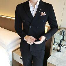 3PCS Men Double Breasted Suit Blazers Coat Vest Pants Groom Wedding Dress Formal
