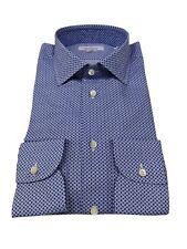 BRANCACCIO camisa hombre manga larga fantasía celeste slim 100 % algodón ALBINI