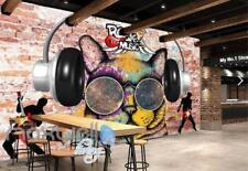 3D Graffiti Earphone Cat Rock Roll Art Wall Murals Wallpaper Decals Prints Decor