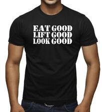 Men's Eat Lift Look Good Black T Shirt Fitness Bodybuilding Gym MMA Workout V399