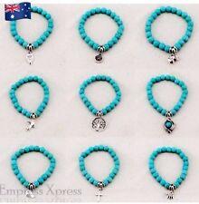 Charm Bracelet Turquoise Beads with Pendant