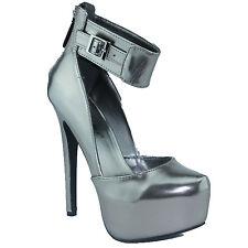 Breckelles Marisa-39 Almond Toe Platform High Heel Ankle Strap Pumps Gun Metal