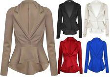 Womens Plus Size Long Sleeve Flared Waist Blazer Peplum Skater Jacket 18-26