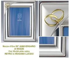 CORNICE NOZZE D'ORO 50° ANNIVERSARIO Cm.13x18 LASTRA in ARGENTO 925% LEGNO 819/3