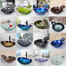Multi Types Round/Oval Bathroom Tempered Glass Basin Bowl Vessel Sinks Taps Set