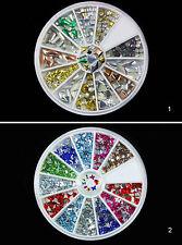3D Alu Nagelsticker Metall Nail Art Sticker Strasssteine Deko im Rondell, neu