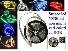 Strisce led 5050 60watt 5mt.300led vari colori e RGB  non impermeabili  DC12volt