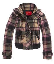 New Womens Hooded Check Wool Jacket Ladies Coat Size 8 10 12 14 Pink Black