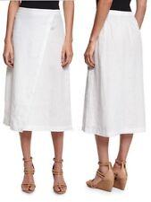 198.00 NWT Eileen Fisher Organic Linen Wrap Front Midi Skirt XXS,M