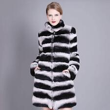Women 100% Real Chinchilla Rex Rabbit Fur Coat Overcoat Winter Warm Jacket Parka
