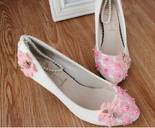 Zapatos de salón bailarina blanco flores rosa novia encaje 3.5 4.5 8.5, 11 9262