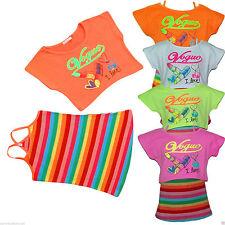 2 Teiler Longtop Shirt T-Shirt Oberteil Neon Kombination Top Trägertop gestreift