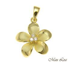 PLATA DE LEY 925 Oro Amarillo HAWÁI Plumeria flor 3 COLGANTE CON CIRCONITA
