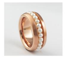 Edelstahl Ring Damen Rosegold rose Süßwasserperlen Perlen weiß Bandring SWP