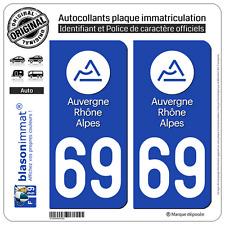 2 Stickers autocollant plaque immatriculation : 69 Auvergne Rhone Alpes LogoType
