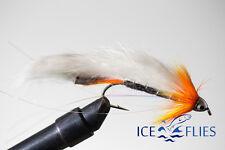 ICE FLIES. Streamer fly, Black ghost Zonker sunburst. Size 2, - 10 (3-pack)