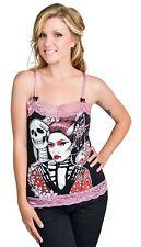 Emo skull TooFast Camille Tank Top Geisha Punte Spalline Maglietta Rockabilly VINTAG