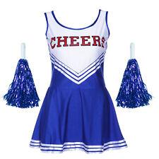 Blau Cheerleader Uniform Kostüm Cheerleading Cheer Leader Gr.S-L f. Karneval