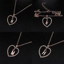 Cubic Zirconia Chain Necklace Choker Heart Pattern 26 Letters ABC Pendant