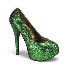 "Bordello 5.75"" Heel Green Glitter Platform Shoes Pumps 6 7 8 9 10 11 12"