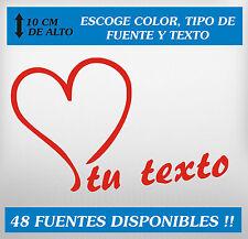 PEGATINA PERSONALIZABLE - Corazón y texto - ESCOGE TIPO DE LETRA, TEXTO Y COLOR