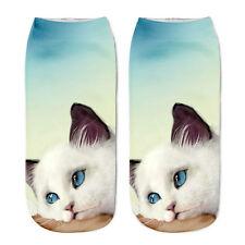 New Men Women Kids Low Cut Ankle Cotton Sock Lovely Cat 3D Print Fashion Unisex