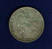 "PERU REPUBLIC  1935-LIMA  1/2 SOL SILVER COIN, NO ""AP"""
