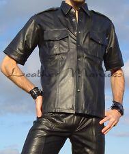 Regular Fit Camisa De Cuero Clásico con bolsillos en el pecho cierre botones Y L