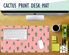 "Tiny Cacti Print Desk Mat - Choose Your Base Color! 12x22"" Mouse Pad"