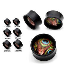 Oído PLUG - Pavo Real Pluma Pájaro Flesh Tunnel Negro Acrílico piercing
