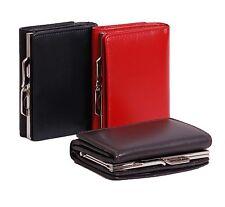 Da Donna Pochette in Vera Pelle Tri Fold in metallo fibbia note monete carte Rosso Nero Marrone
