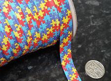 "Autism Awareness Elastic Ribbon Puzzle Design 16mm (5/8"") 2/5/10 yards"