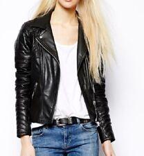 Women Leather Jacket Soft Solid Lambskin New Handmade Motorcycle Biker S M # 03
