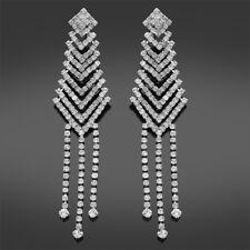 Hermoso Negro Diamante Pendientes Colgantes de gota-perforado o Clip-on