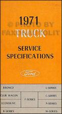 1971 Ford Truck Service Specs Manual Pickup Bronco Van F100 F250 F350 Econoline