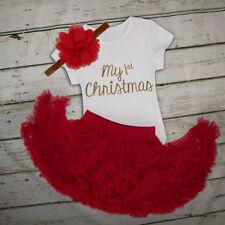 My First Christmas Infant Baby Girl Santa Romper Headband Tutu Dress Outfit Set