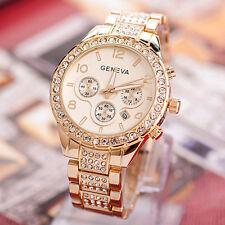 Geneva Women Luxury diamond Stainless Steel Crystal Quartz Round Watch Dress
