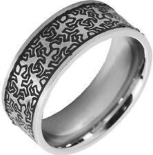 Unisex Ring KEITH Silber/Schwarz aus Edelstahl 5070025 von AKZENT Größe 64-66