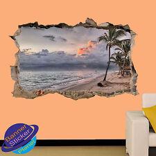 Mar Playa Tropical Sunset Decoración Habitación Oficina Arte Pared Adhesivo Calcomanía Mural ZL0