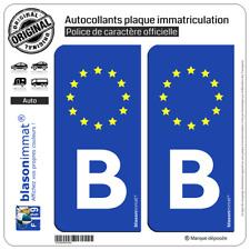 2 Stickers autocollant plaque immatriculation B Belgique - Identifiant Européen