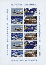 """VIGNETTES AERIENNES ND """"Airbus A380 Air France - 1er Vol Paris-Washington"""" 2011"""