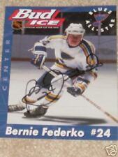 Bernie Federko Autographed Bud Ice Blues Post Card