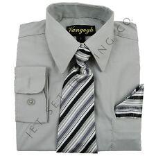 Niños Plata Camisa con a Juego Corbata & Pañuelo Manga Larga Tallas 4 To 20