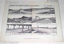 Gravure L'outillage Agricole : La ROUTE -  Documentation Scolaire Image 1934