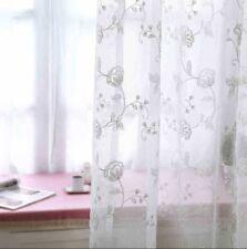 "Embroidery Flower White Sheer Curtain Elegant Modern Window Drapes 63/84"" Tulle"